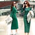 Новый 2015 Халат Плюс Размер Женщины Осень Зима Платье Мода Повседневная О-Образным Вырезом Вязание Платья С Длинными Рукавами Длинные Длины платье