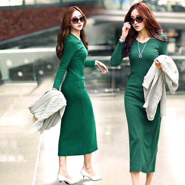 New 2015 Robe Plus Size Women Autumn Winter Dress Fashion Casual O-neck Knitting Dresses Long-Sleeve Long-Length Dress