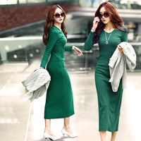 New 2015 Robe Plus Size Women Autumn Winter Dress Fashion Casual O Neck Knitting Dresses Long