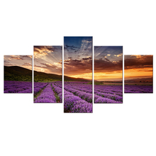 Hot Sales Framed 5 Panels Picture Lavender flowers HD Canvas Print Painting Artwork Wall Art painting Wholesale