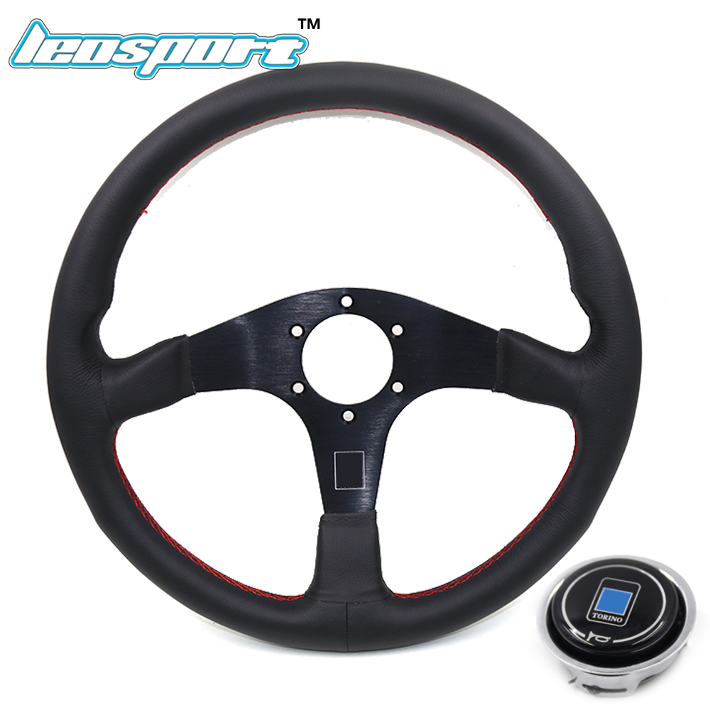 Leosport New 14 350mm ND Racing Steering Wheel really Leather red line Steering Wheel flat Racing