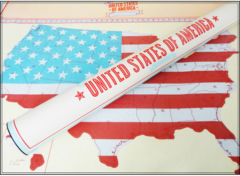 US Personalized  Deluxe Scratch Off Travel World Map Poster Ornament Room Home Decoration Wall Sticker With Cylinder Packing