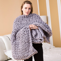 2018 1pc Handmade Pure Color Chunky Knitted Blanket Wool Thick Line Yarn Throw Sofa Bed Adornment