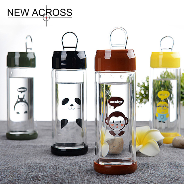 US $11 98 8% OFF|JUH 1Pc Double Layer Glass Transparent Cans Cut Cartoon  Children Student Water Bottle Advertising Gifts Customized In Bulk-in Water
