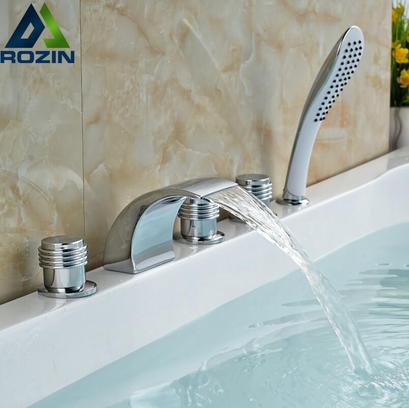 Bright Chrome Three Handles Waterfall Bathroom Bathtub Faucet Widespread Deck Mount Tub Mixer Taps 5PCS