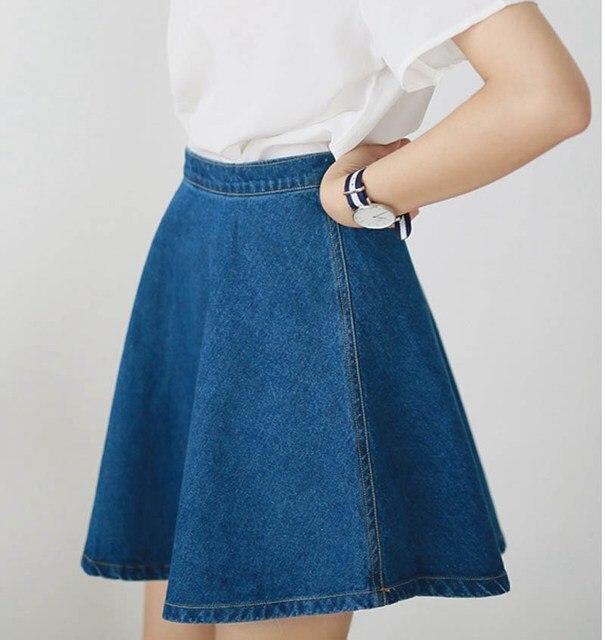 Women's Korean Style Mini Jeans Skirt 2016 Spring Autumn Ladies Casual High Waist Denim Blue Zipped Skirts saia feminina SK108