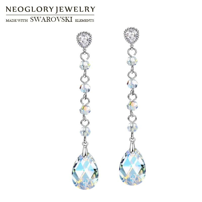 Neoglory Austria Crystal   Zircon Long Drop Earrings Water Drop Stylish For  Trendy Glaring Design Party 65f769615c80