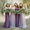 2017 Bridesmaid Dresses Lavender Purple Lilac Floor Length Long Tulle Maid Of Honor Wedding Party Dresses Real Photo AL060603