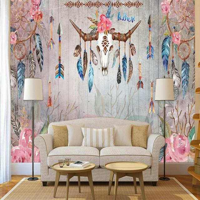 Photo Wallpaper Hand Painted Indian Tribal Style Feather Watercolor