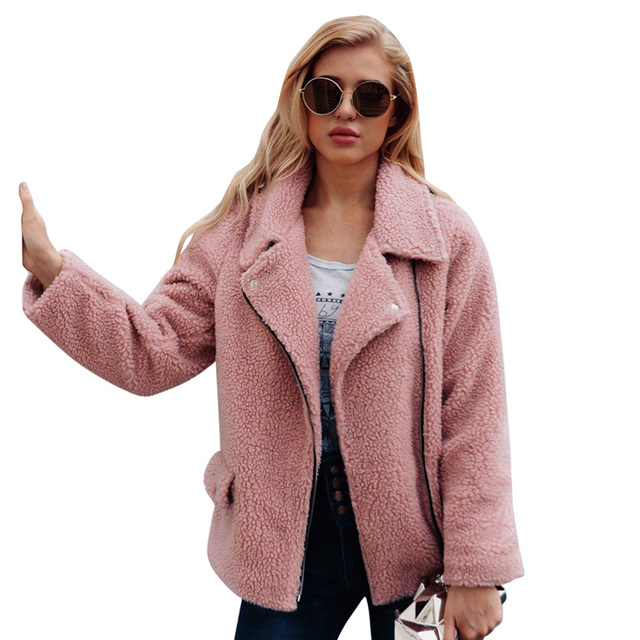 5e64b09870d 2019 New Faux Lambs Wool Bomber Jacket Women Coat Plus Size Teddy Bear  Jacket for Women