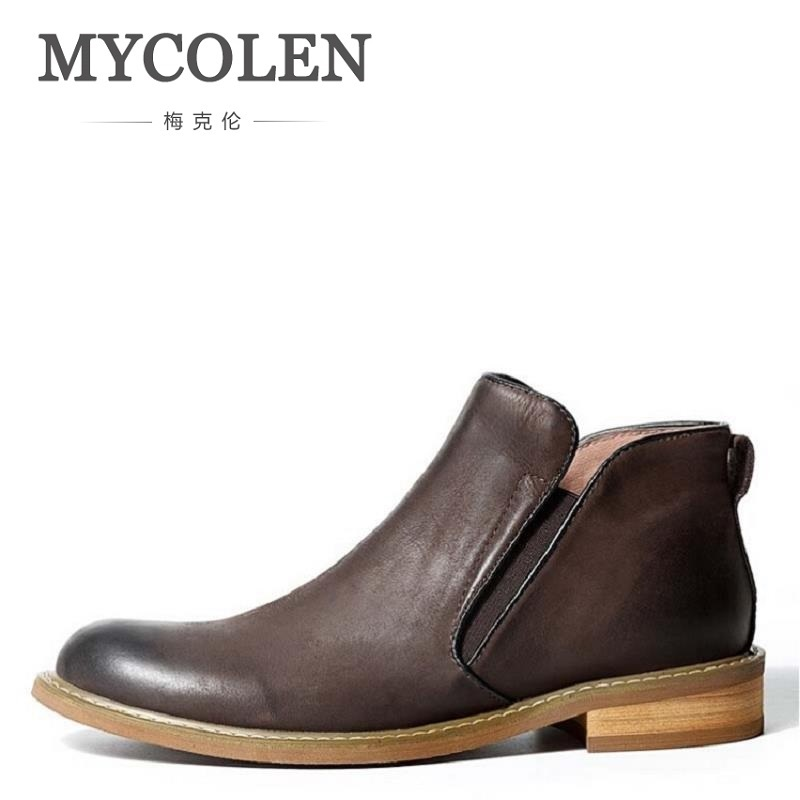 MYCOLEN Brand Genuine Leather Mens Ankle Boots Top Quality Italian Designer Wedding Shoes Men For Business Cowhide Chelsea Boots grimentin fashion genuine leather mens dress shoes italy designer carved top quality cowhide men shoe flats for wedding business