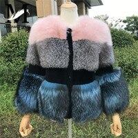 Winter Women Fox Fur Coat Silver Fox Fur Coats Jacket Ladies Elegant Thick Warm Outerwear Real Fur Jackets Female