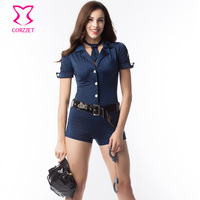 Blue Short Sleeved Jumpsuit With Belt Policewoman Outfit Cosplay Cop Costume Sexy Halloween Costumes For Women