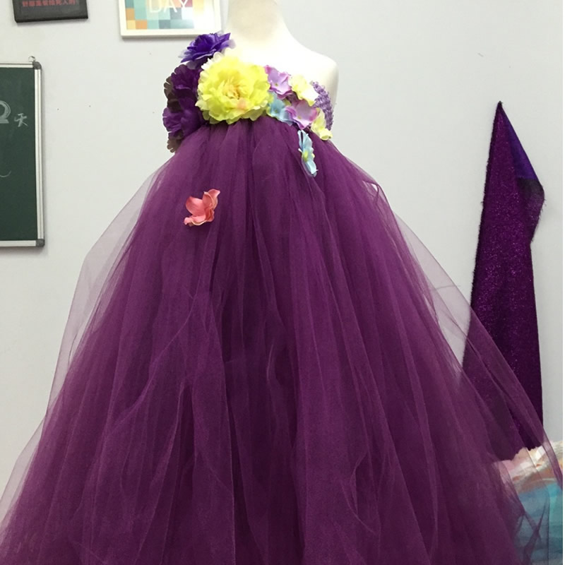 2017 Top quality Fashion Flower Girl Dresses violets Flower 2-12Year Beautiful Draped Ball Gown Wedding party Children party