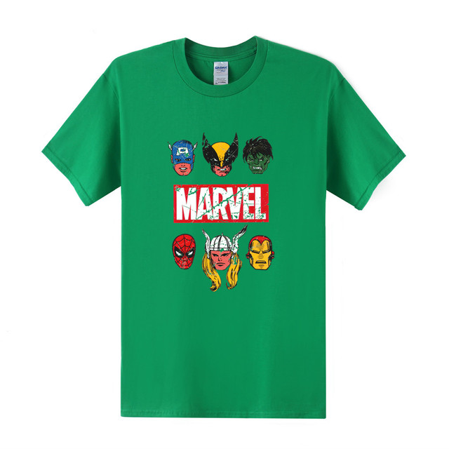 Men Marvel T-Shirt Casual O-Neck Tees Cotton Cartoon Superhero