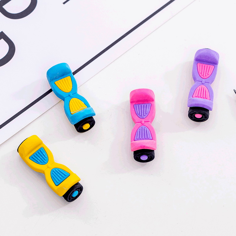 48 Pc/lot Creative Cartoon Skateboard Rubber Eraser/ Stationery For Children Students/nice Gift Eraser/wholesale