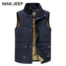 NIAN JEEP Brand Men Warm Winter Wool Liner Vest Outwear Waistcoat Men Vests Plus Size 3XL 4XL 63