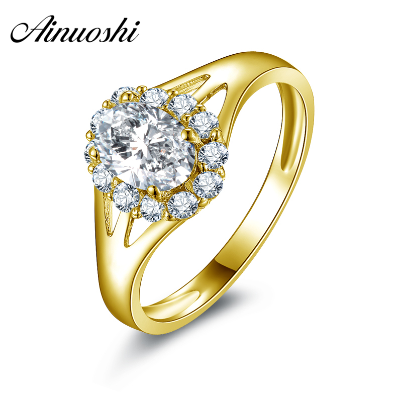 все цены на AINUOSHI 10k Solid Yellow Gold Wedding Rings Brilliant 0.75 ct Oval Cut CZ Aneis Feminino Jewelry Halo Women Engagement Rings онлайн