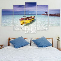Canvas Painting Blue Ocean Yellow Boat Seascape Oil Picture Wall Art Poster Seaview Art Print Mordern