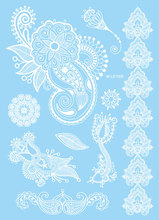 1pc Lovely White Wedding Tattoo For Lover Couple Dolphin Lace Heart Design Temporary Tattoo Sticker Waterproof Henna Tatoo