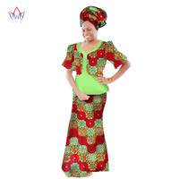 summer womens african clothing dashikis regular suit 2 pieces cotton skirt set o neck cloth big size traditional bazin WY190
