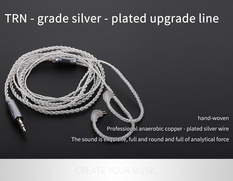 TRN 3,5 MM Ersatzkabel 2Pin Verbesserte Versilbert Kabel Für TRN V10 - Tragbares Audio und Video