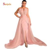 Pink Satin Strapless Pleats African Women Evening Dresses 2019 Front Slit Sexy Evening Party Dress Organza Skirt Prom Gown D548