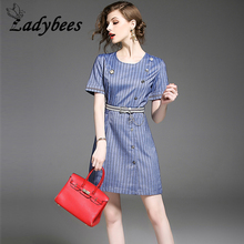 LADYBEES 2017 Summer Women Striped Dress Office Ladies OL Work Dresses With Sashes Button Formal Fashion Slim Clothing Casual