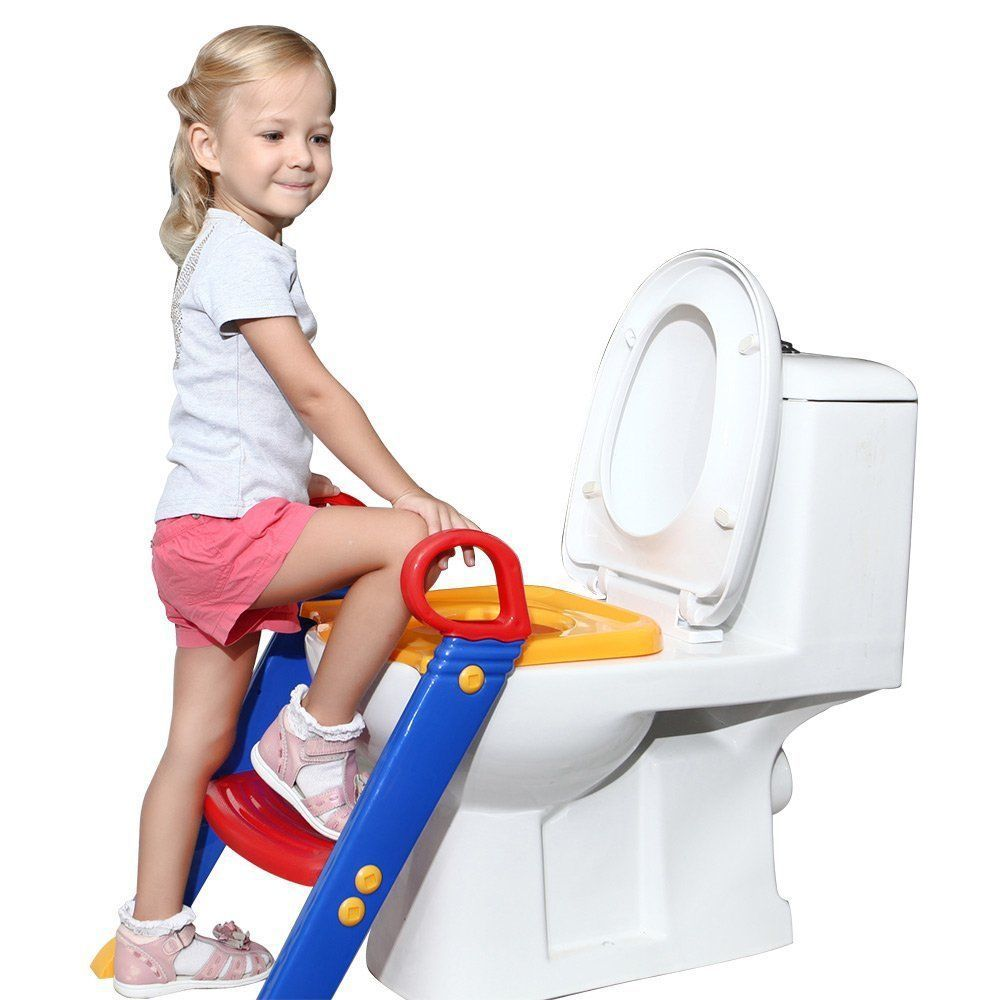 kids potty training seat with step stool ladder for child toddler toilet chair in children. Black Bedroom Furniture Sets. Home Design Ideas