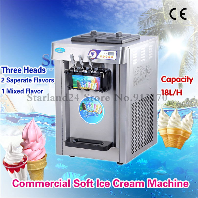 3 Flavors Soft Ice Cream Machine Commercial Soft Serve Sundae Machine 18L/H with Digital Control System edtid new high quality small commercial ice machine household ice machine tea milk shop
