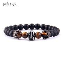 WML black Eye Spartan Helmet Crown charm Men Bracelet Warrior Skull Skeleton Stone bead & bangles for women