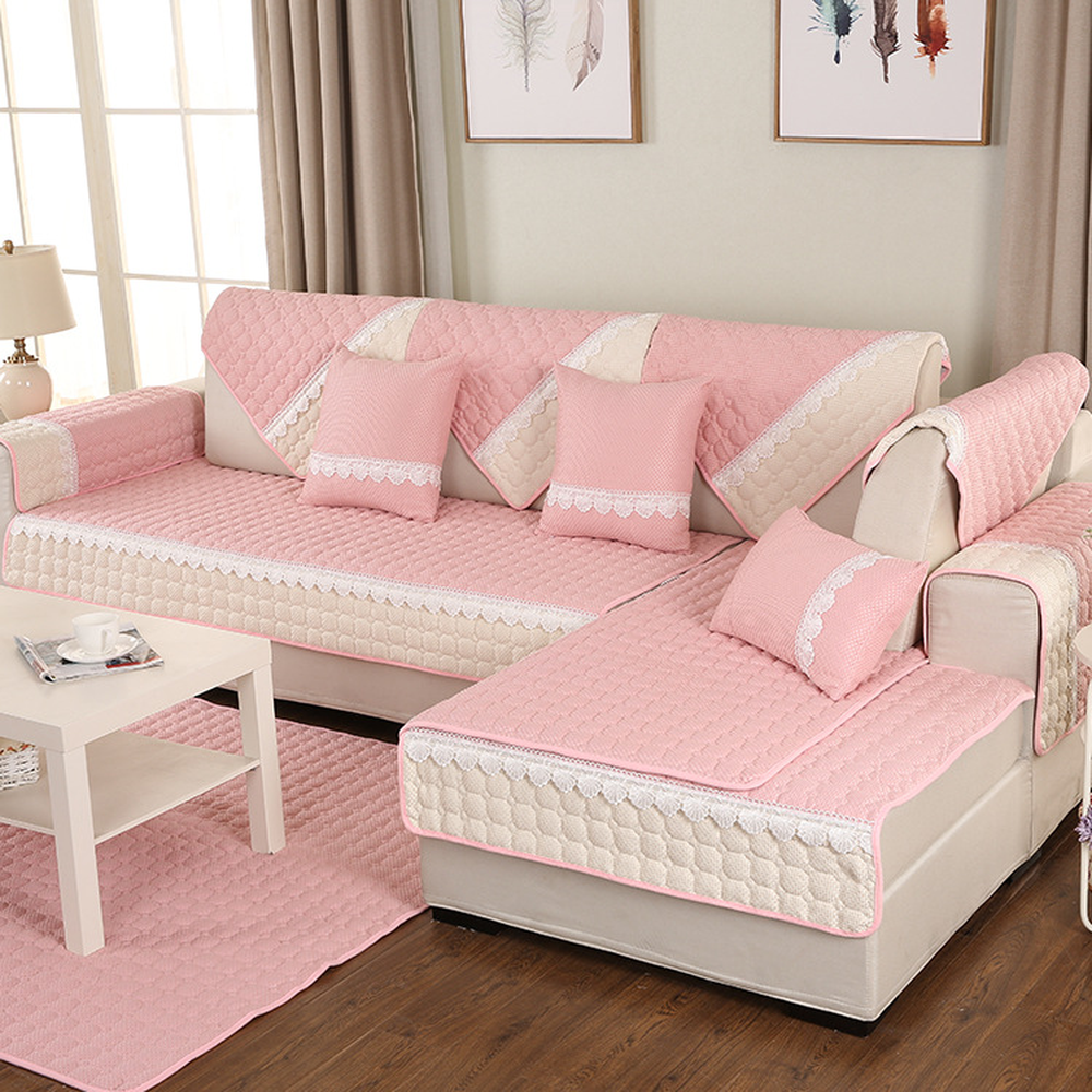 Stylish Simplicity Pink Cotton Sectional Sofa Cover Four