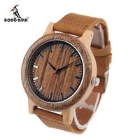 BOBO BIRD Wooden Watches Men Women Handmade Leather Strap Quartz Wrist Watches Ideal Gifts Items Relogio