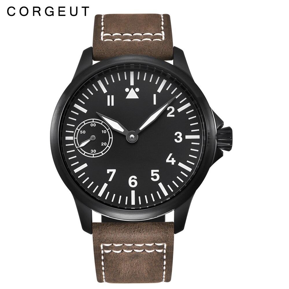 Luxury top brand Corgeut Mechanical Watch men 17 Jewels Seagull 6497 Hand Winding Mechanical Watches luminous Men wristwatches