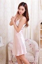 2017 summer Women Sexy Rayon Silk Sleepshirts braces Lingerie Nightdress sleepwear  female dress #3797
