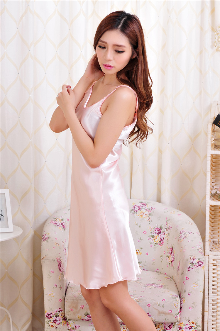 summer Women Sexy Rayon Silk Sleepshirts braces Lingerie Nightdress sleepwear  female dress #3797
