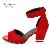 cd297cfc3 Fanyuan 2019 Concise Velvet Ladies Sandals Mature Peep Toe Women S High  Heels Zipper Zapatillas Mujer
