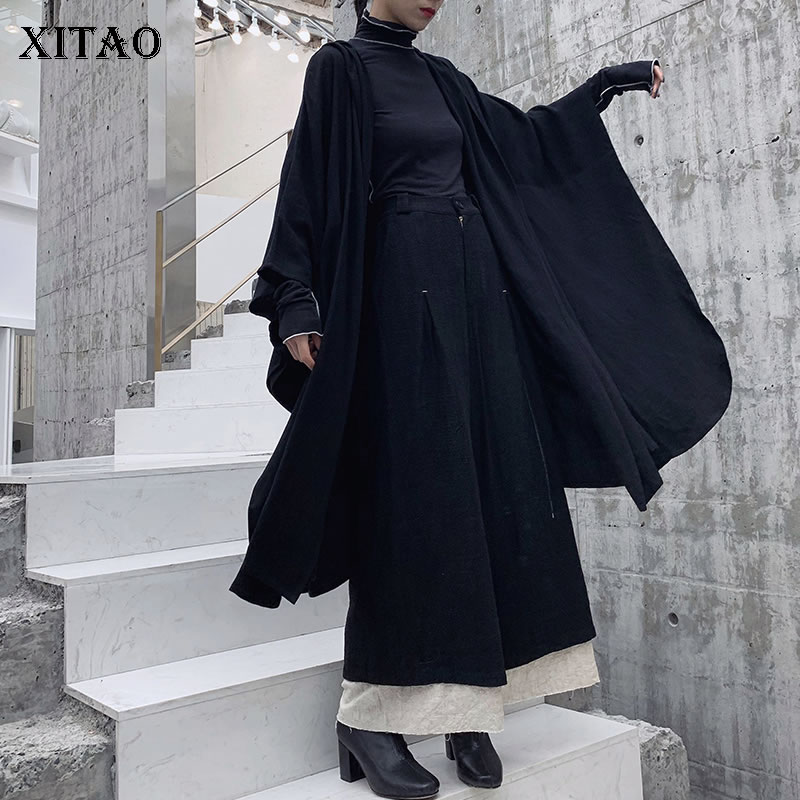 XITAO 2019 Spring New Korea Fashion Women Hooded Collar Full Sleeve Loose Coat Female Solid
