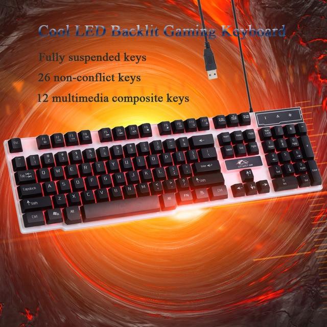 Ice WolfGaming Keyboard LED Backlit Keycaps Multimedia Professional Esport Gaming Qwerty Keyboard USB Wired 104 Keys Ergonomic 1