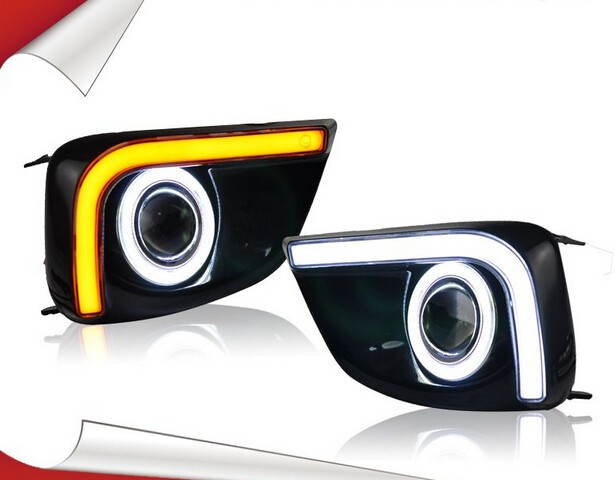 LED DRL daytime running light + yellow turn signal + COB angel eye + projector lens + fog lamp with cover for toyota vios led drl daytime running light cob angel eye projector lens fog lamp with cover for nissan versa sunny 2014 15 2 pcs