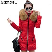 Gizmosy! Winter Jacket Women Fashion Fur Collar Parka Padded Slim Hooded Coat Women DownCotton Jacket BN033