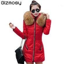 Gizmosy! Winter Jacket Women Fashion Fur Collar Parka Padded Slim Hooded Coat Women DownCotton Jacket BN240