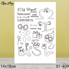 ZhuoAng Lovely Snake Wearing Glasses Clear Stamps/Seals For DIY Scrapbooking/Card Making/Album Decorative Silicon Stamp Crafts
