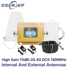 GSM LTE 1800 LCD 70dB 2g 4g Cell Phone Signal Repeater DCS 1800MHz + outdoor/indoor  antenna