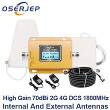 GSM LTE 1800 LCD 70dB 2g 4g repetidor de señal para teléfono móvil DCS 1800MHz + antena exterior/interior