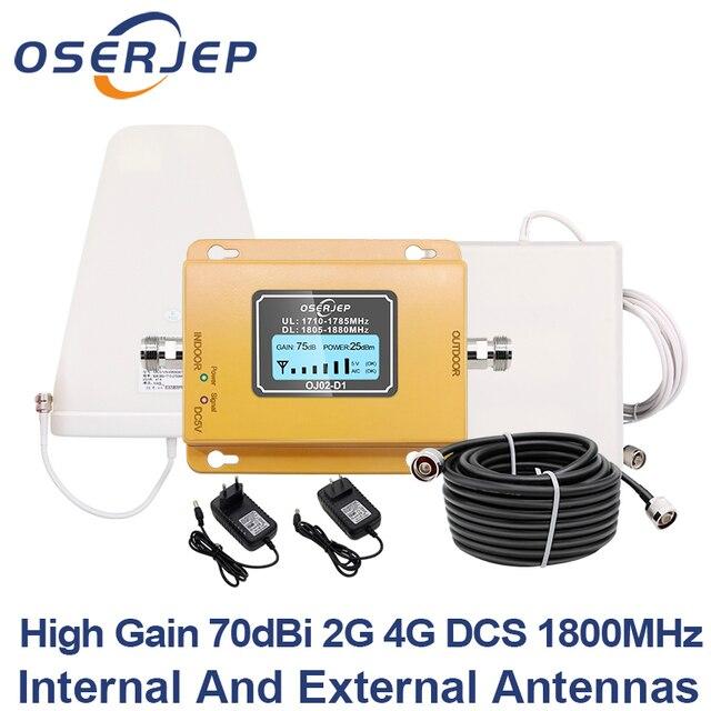 Gsm lte 1800 lcd 70db 2g 4g 휴대 전화 신호 리피터 dcs 1800 mhz + 실외/실내 안테나