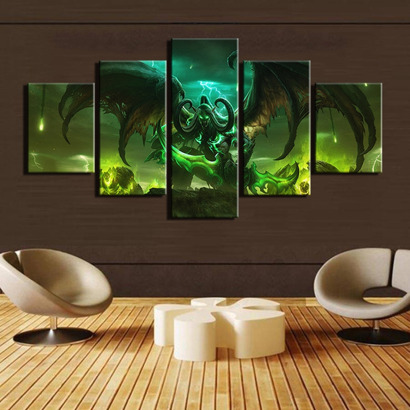 Pictures Frame Modern Home Decor Wall Art Warcraft Abstract Hd Print Poster 5 Piece Game