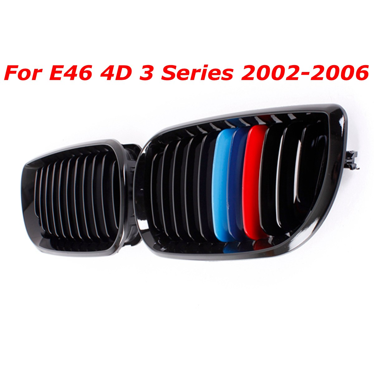 Pair Gloss Black Car Grill Front M-color Kidney Grille Grill For BMW E46 4D 3 Series 2002 2003 2004 2005 2006 pair gloss matt black m color 2 line front kidney grille grill double slat for bmw e90 e91 3 series 2004 2005 2006 2007