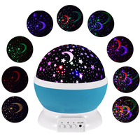 BORUiT Romantic Star Moon LED Night Light Projector Rotating Starry Projection Night Lamp For Kids Bedroom