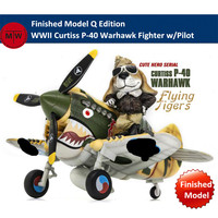 T Model WWII Curtiss P 40 Warhawk Flying Tigers Fighter Plastic Finished Model w/Resin Pilot Cute Q Edition Kits